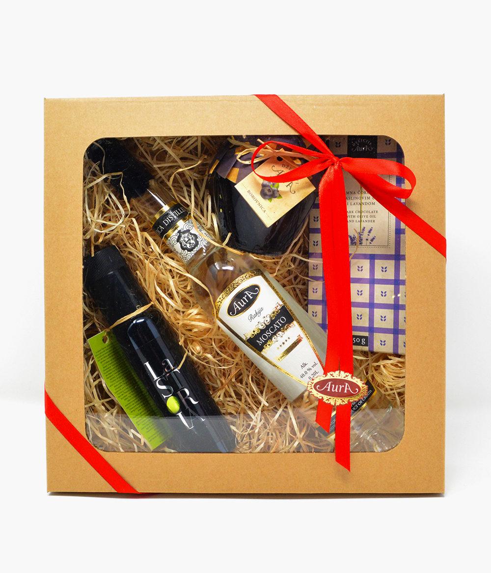 Geschenkpaket-aura-moscato-rakija-olivenöl-schokolade-konfitüre-marmelade